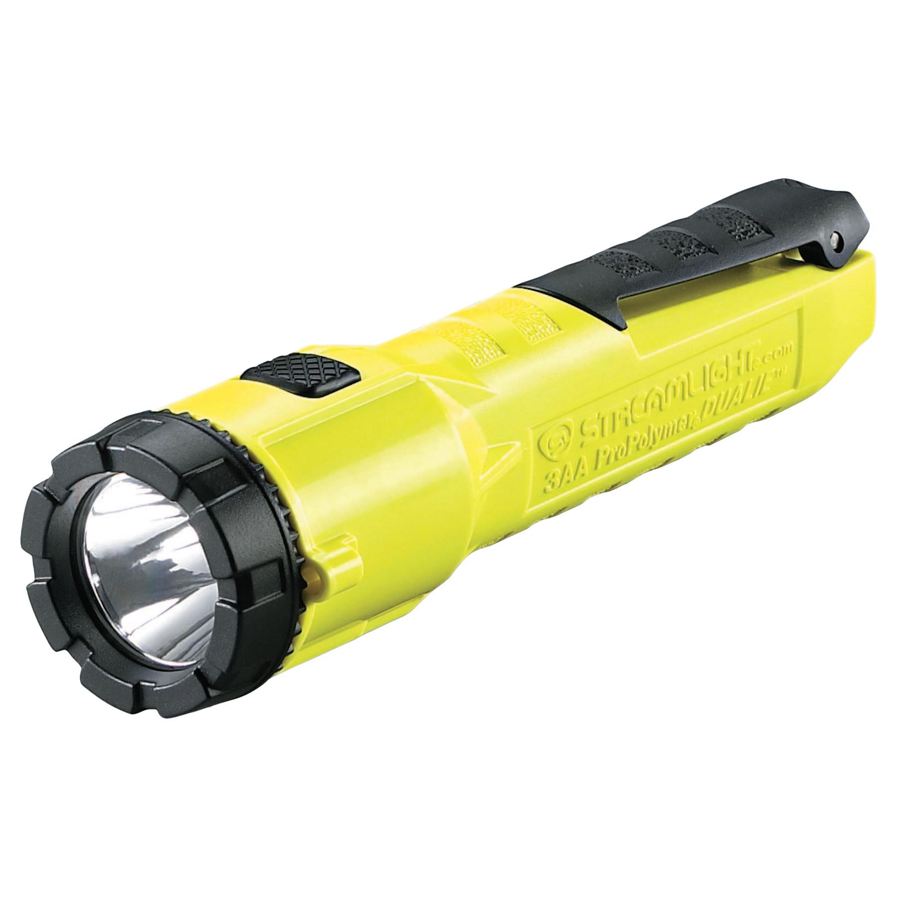 Streamlight ProPolymer Dualie Flashlight, w/3 AA Alkaline Batteries, Spot/Flood, Yellow