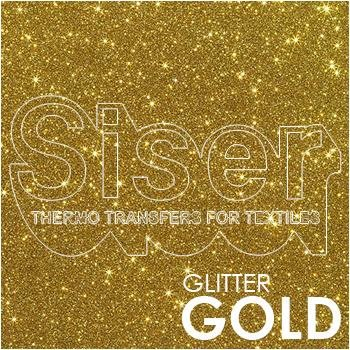 SISER Glitter Gold Iron On Letter Heat Transfer Vinyl HTV Contact Paper Decal Roll (Choose Your Size)