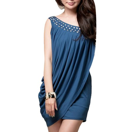 Ladies Pullover Plastic Crystal Decor Front Party Mini Dress Deep Blue XS