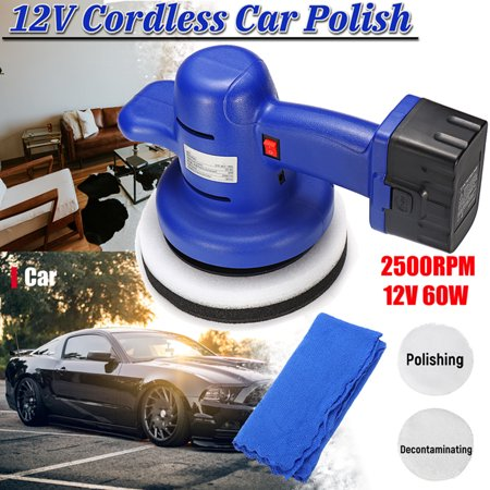 12V 60W 2500rpm Cordless Car Polisher Waxing Buffing Electric Polishing Rechargeable