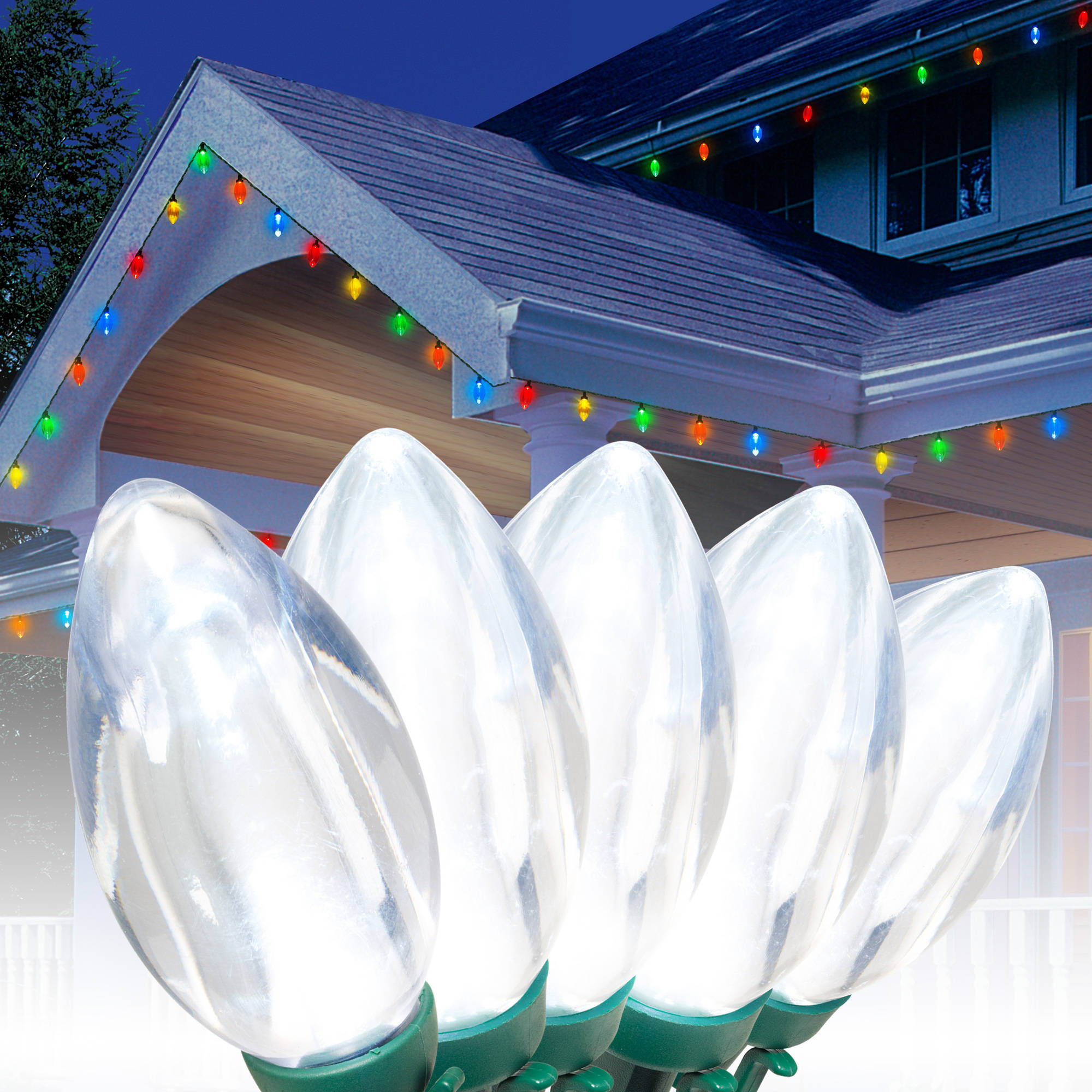 Holiday Time LED C9 Ultra Bright Light Set Green Wire Cool White Bulbs, 25 Count - Walmart.com