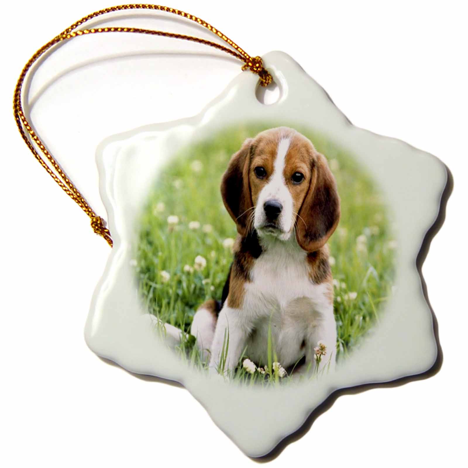 3dRose For Love Of A Beagle, Snowflake Ornament, Porcelain, 3-inch