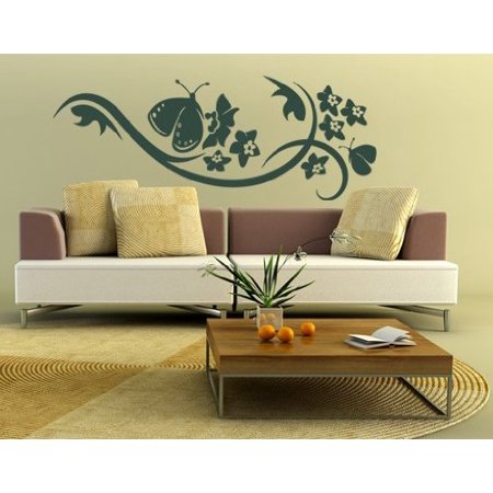 Butterfly Blossom Wall Decal - floral wall decal, sticker, mural vinyl art home decor - 1001 - White, 31in x 12in ()