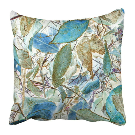 ARHOME Autumn Leaf Foliage Blue and Green Color Effect Nature Concept Beautiful Decay Fall Pillow Case Cushion Cover 16x16 (Blue Green Foliage)