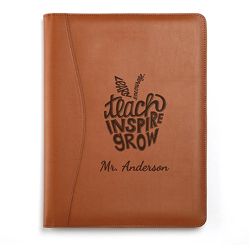 Personalized Teach, Inspire, Grow Leather Padfolio