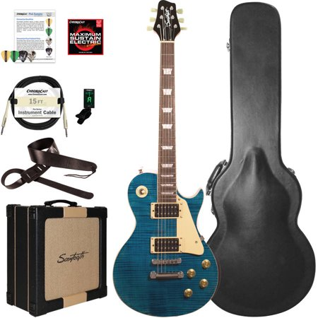 Top Jazz Guitar (Sawtooth Heritage Series Flame Maple Top Electric Guitar with ChromaCast Pro Series LP Body Style Hard Case, 25 Watt Amp, and Accessories, Cali Blue Flame (box 1 of)