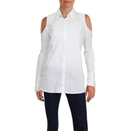 Lauren Ralph Lauren Womens Adelshy Cold Shoulder Button-Down Top White XS