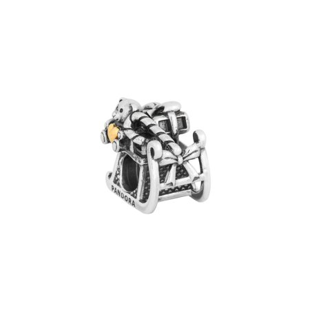 924070952 PANDORA - Authentic Christmas Sleigh Charm in 925 Sterling Silver w/14kt  Gold, 791207 - Walmart.com