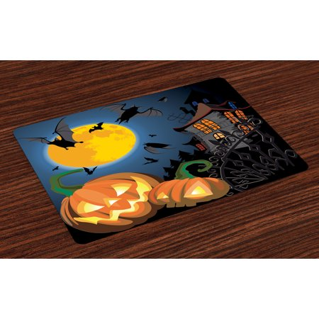 Halloween Placemats Set of 4 Gothic Halloween Haunted House Party Theme Design Trick or Treat for Kids Print, Washable Fabric Place Mats for Dining Room Kitchen Table Decor,Multicolor, by Ambesonne (Halloween Placemats Target)