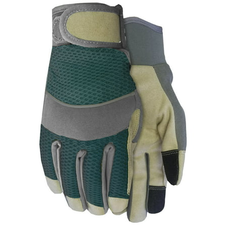 Expert Gardener Gender Neutral Green and Grey Medium Perforated Utility Glove