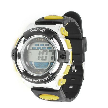 Water Resistant Digital Display Sport Wrist Watch Yellow Black for Men - image 1 de 1