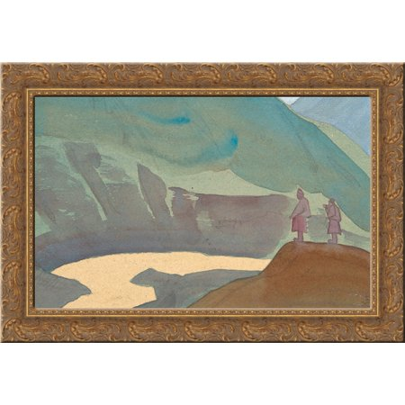 (River Chandra 24x18 Gold Ornate Wood Framed Canvas Art by Nicholas Roerich)