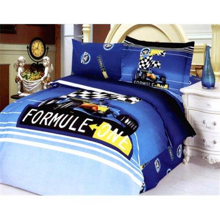 Le Vele LE45T Toddler Room Bedding Modern Twin Duvet Covet Set, Formula Blue