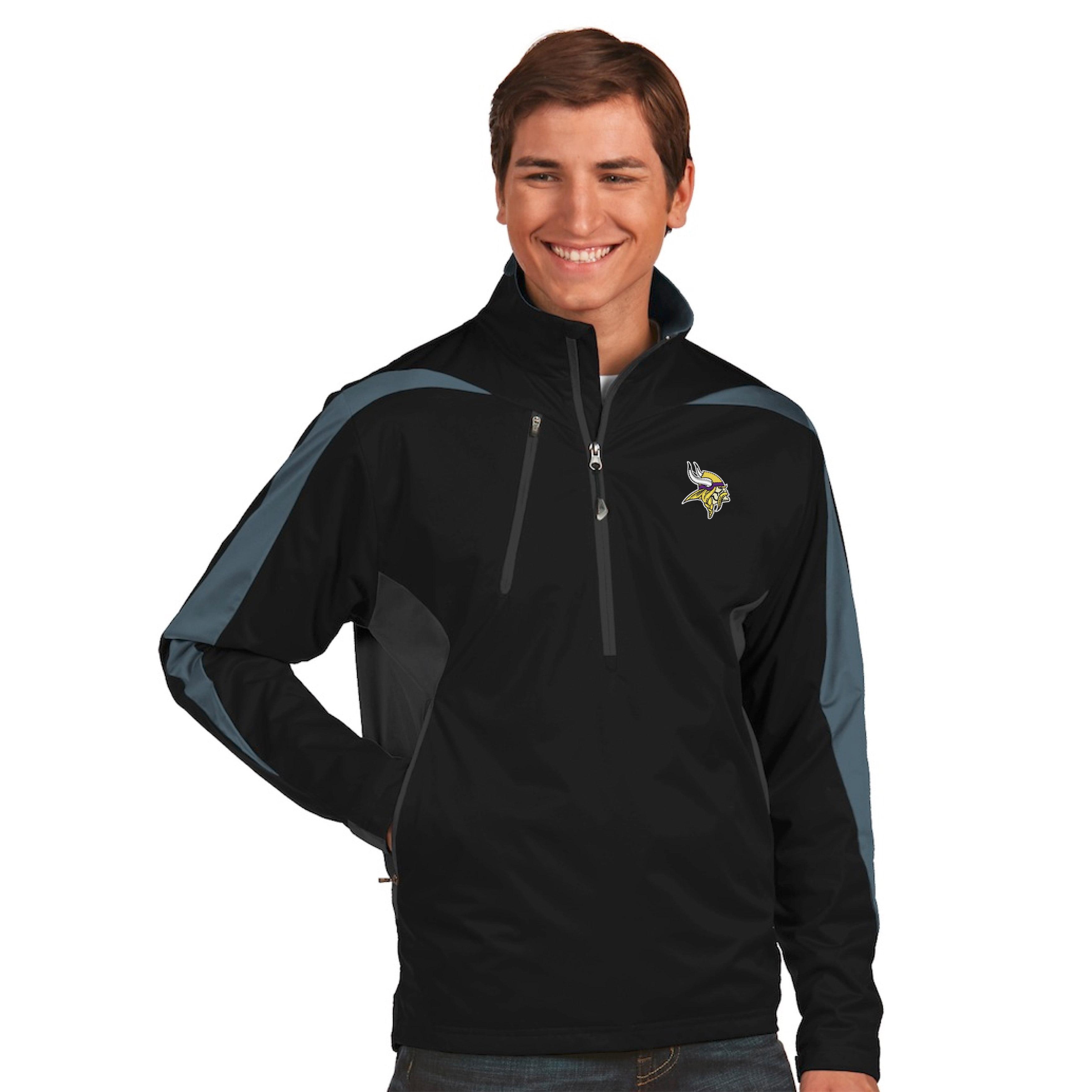 Minnesota Vikings Antigua Discover Desert Dry Xtra-Lite Half-Zip Jacket - Black