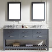 VIRTU USA  Caroline Estate 72-inch Grey Square Double Sink Italian White Carrara Marble Vanity Set