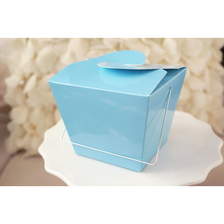 Light Blue Chinese Asian Small Take Out Boxes Easy Close Top Favors Cupcake Holder Set of 12