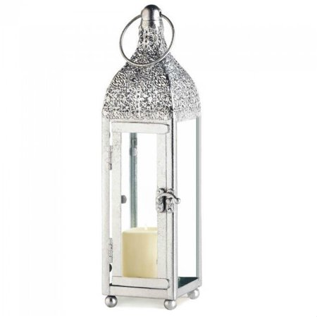 Wedding Lantern Centerpieces (Slim Silver Chic Moroccan Shabby Candle Holder Small Lantern Wedding)