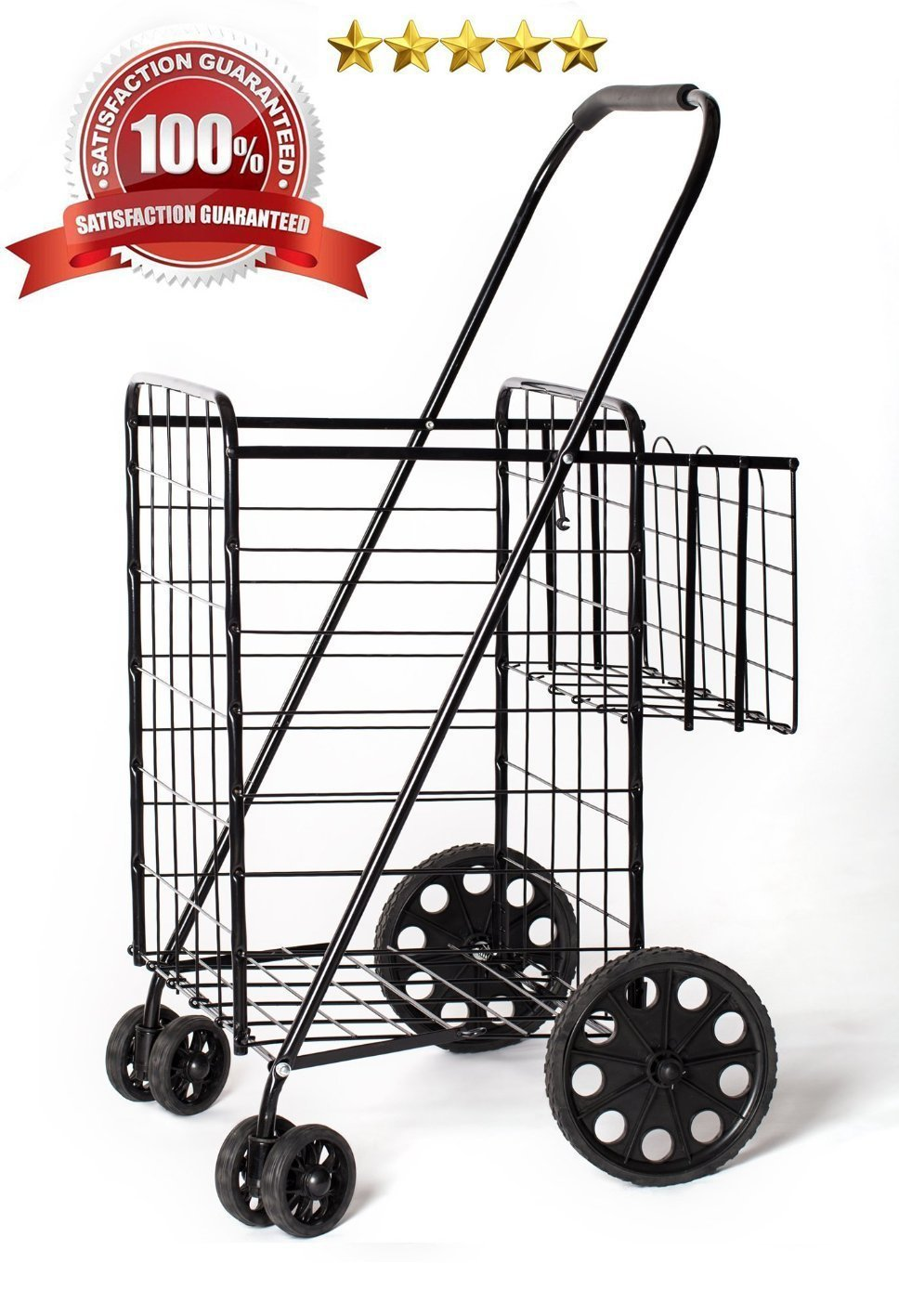 LavoHome Jumbo Size Folding Shopping Cart with Double Baskets 150 lb ...
