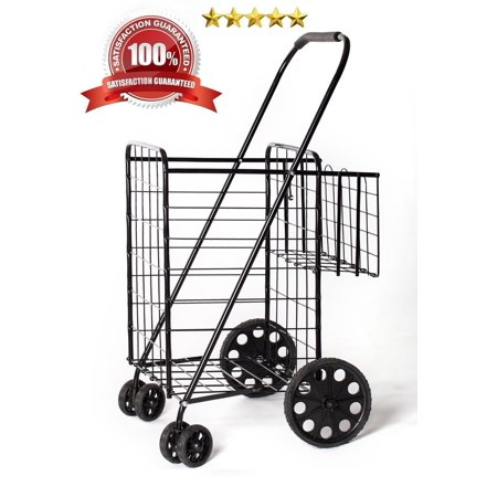 Jumbo Size Folding Shopping Cart With Double Baskets 150 Lb Capacity  W Spinning Wheels  Grocery Shopping Made Easy Utility Cart