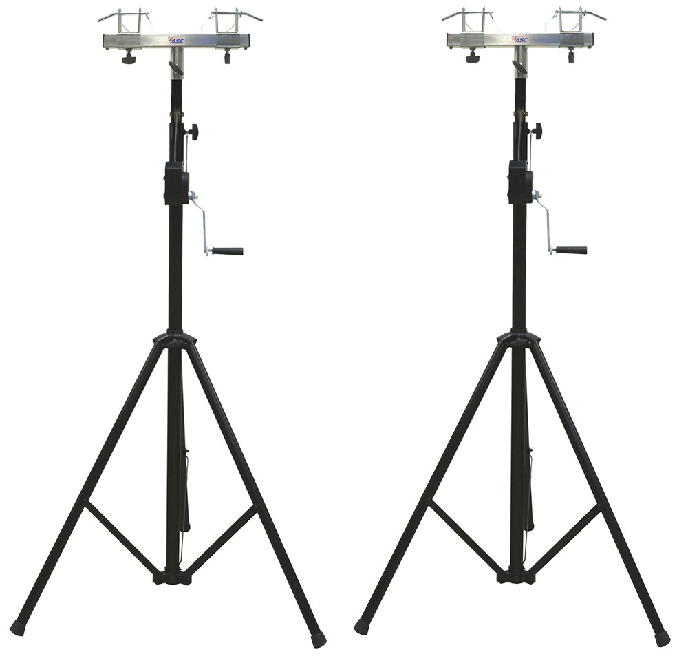 (2) DJ Pro Lighting 10 Foot Crank Light Stand & (2) Square Truss T-Bar Adapter by