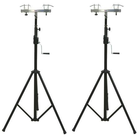 (2) DJ Pro Lighting 10 Foot Crank Light Stand & (2) Square Truss T-Bar - Truss Crank Stand