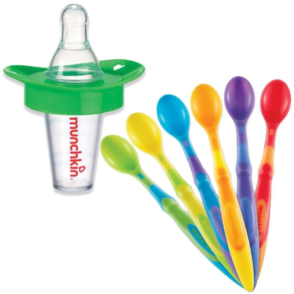 Munchkin The Medicator Pacifier Medicine Dispenser with 6-Pack Soft Tip Infant Spoons, Green