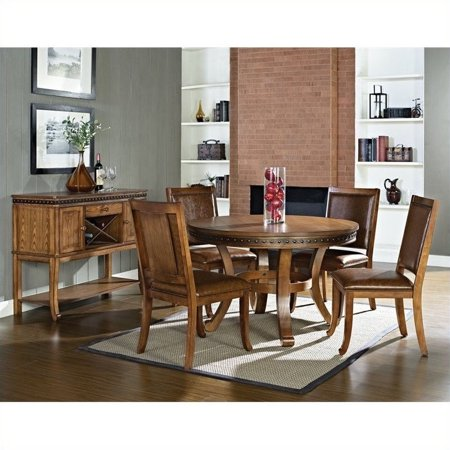 Steve Silver Company Ashbrook 5 Piece Round Dining Table Set In Oak