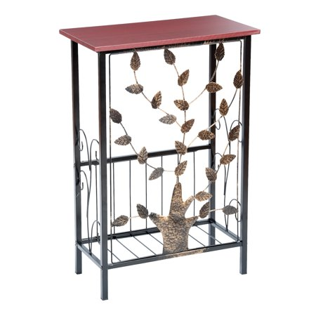 Etna Entryway Console Table with Magazine Holder - Metal Tree Design, Wood Top with Storage Bin for Entrance, Hallway, Bedroom, Bathroom ()