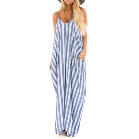 Summer Holiday Women Strappy Striped Long Boho Dress Casual Ladies Beach Maxi Dress Sundress ()