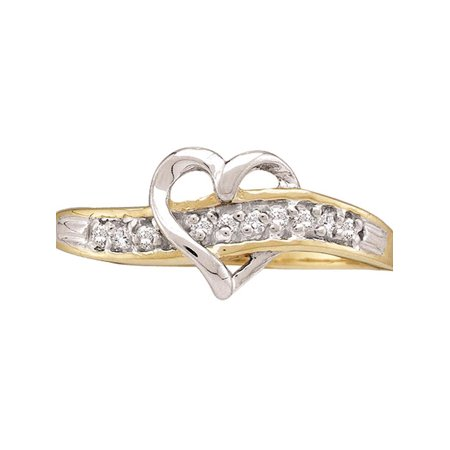 10kt Yellow Gold Womens Round Diamond Heart Love Ring 1/20 Cttw - image 2 de 2