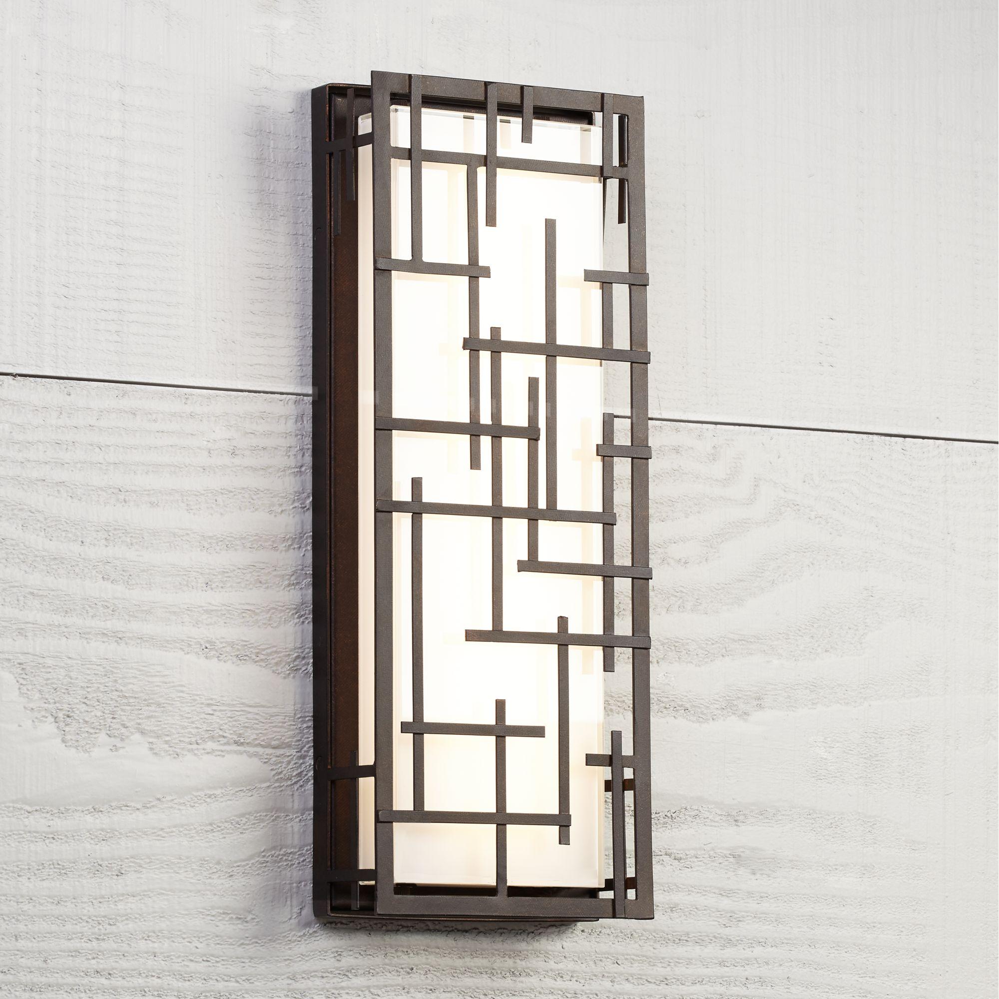 "Possini Euro Design Modern Lines 16 1/4"" High Bronze Led Outdoor Wall Light"