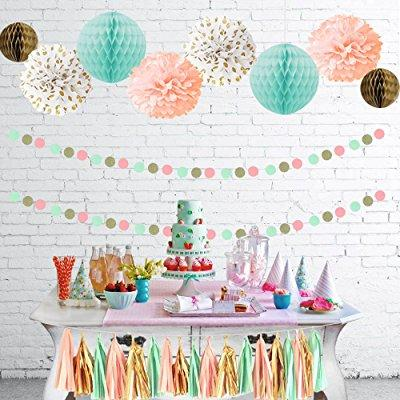 decorations bridal shower product image mint peach glitter gold tissue paper pom pom gold tissue pompom paper honeycomb tassel