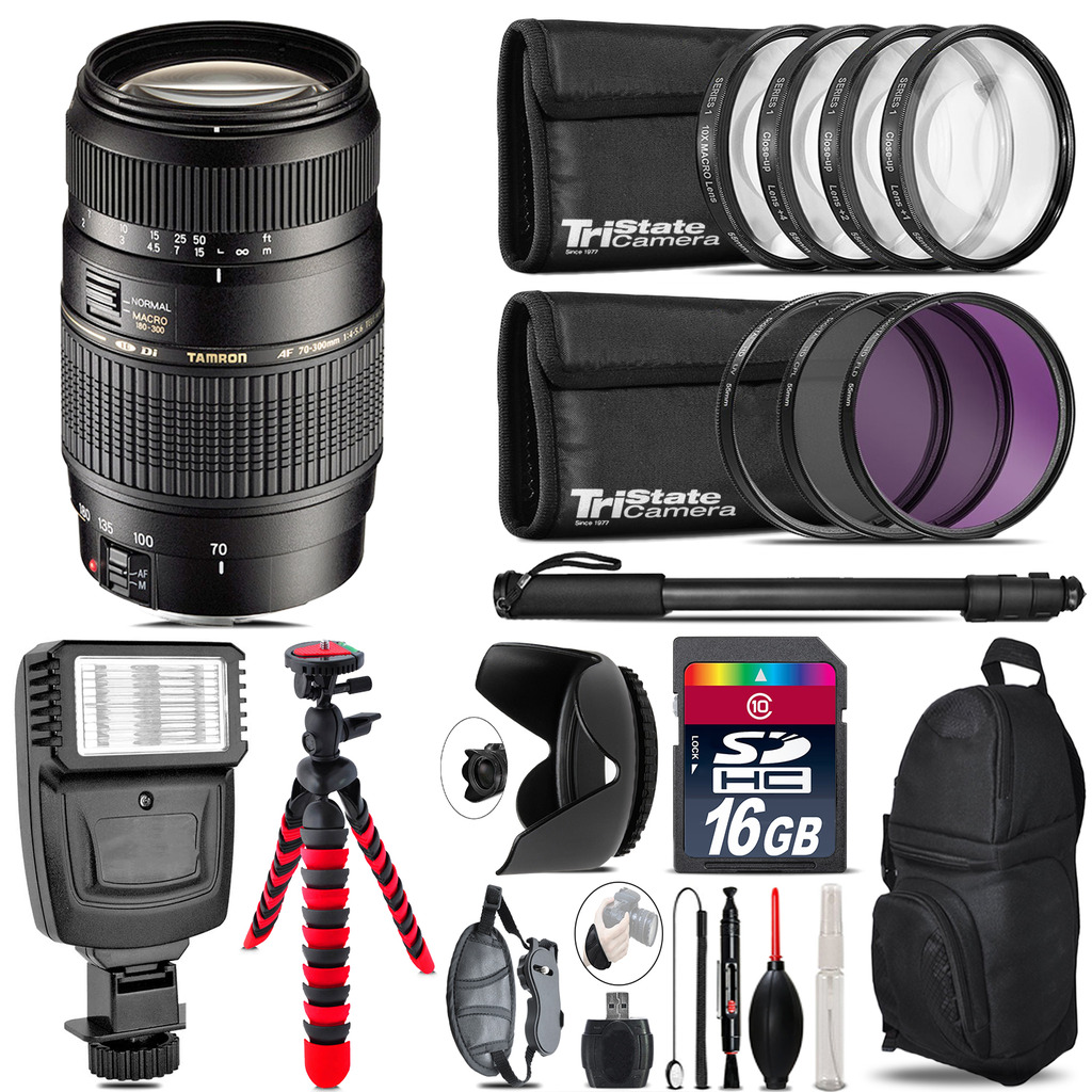 Tamron 70-300mm Lens for Nikon + Flash +  Tripod & More - 16GB Accessory Kit