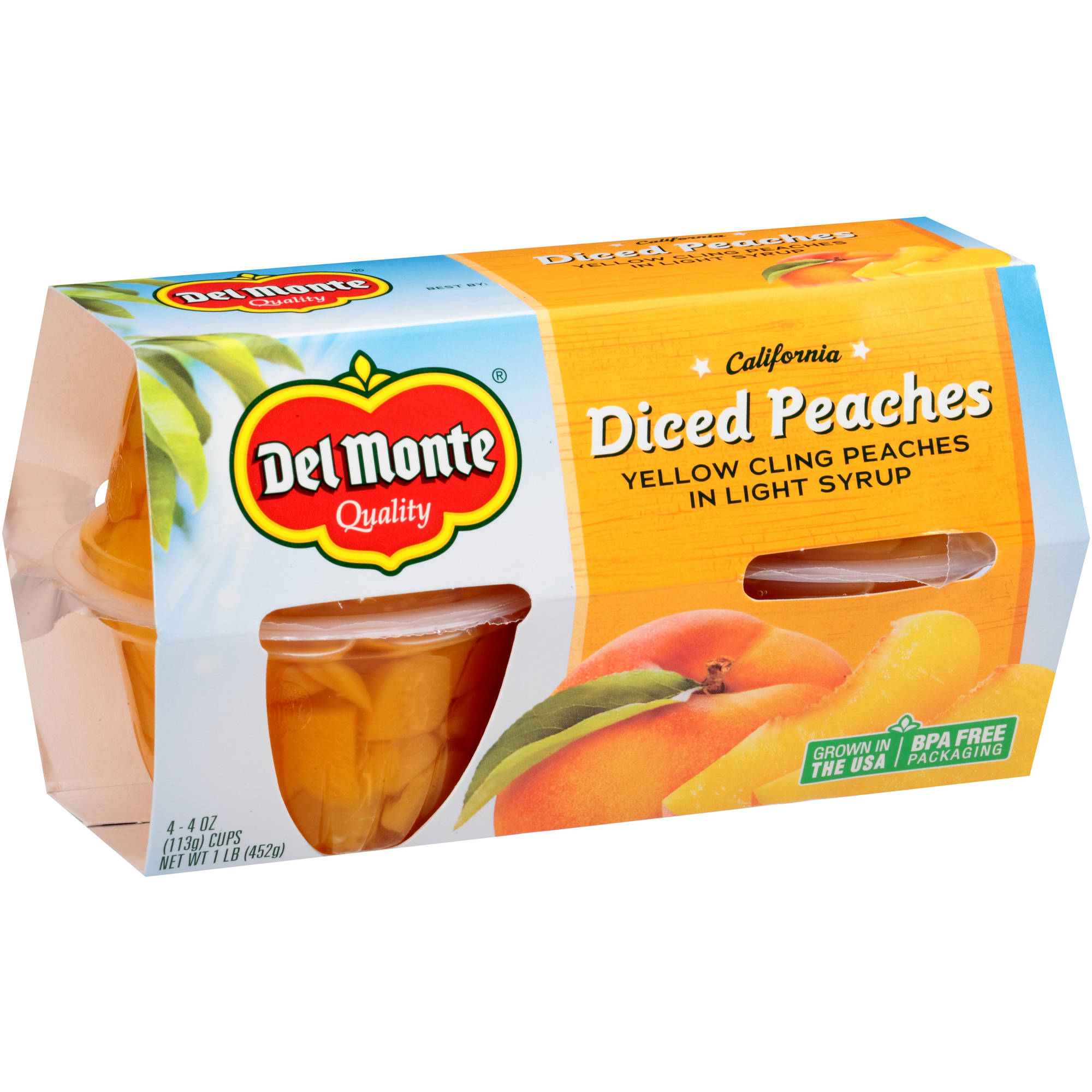 Del Monte California Diced Peaches Yellow Cling Peaches in Light Syrup, 4 oz, 4 count