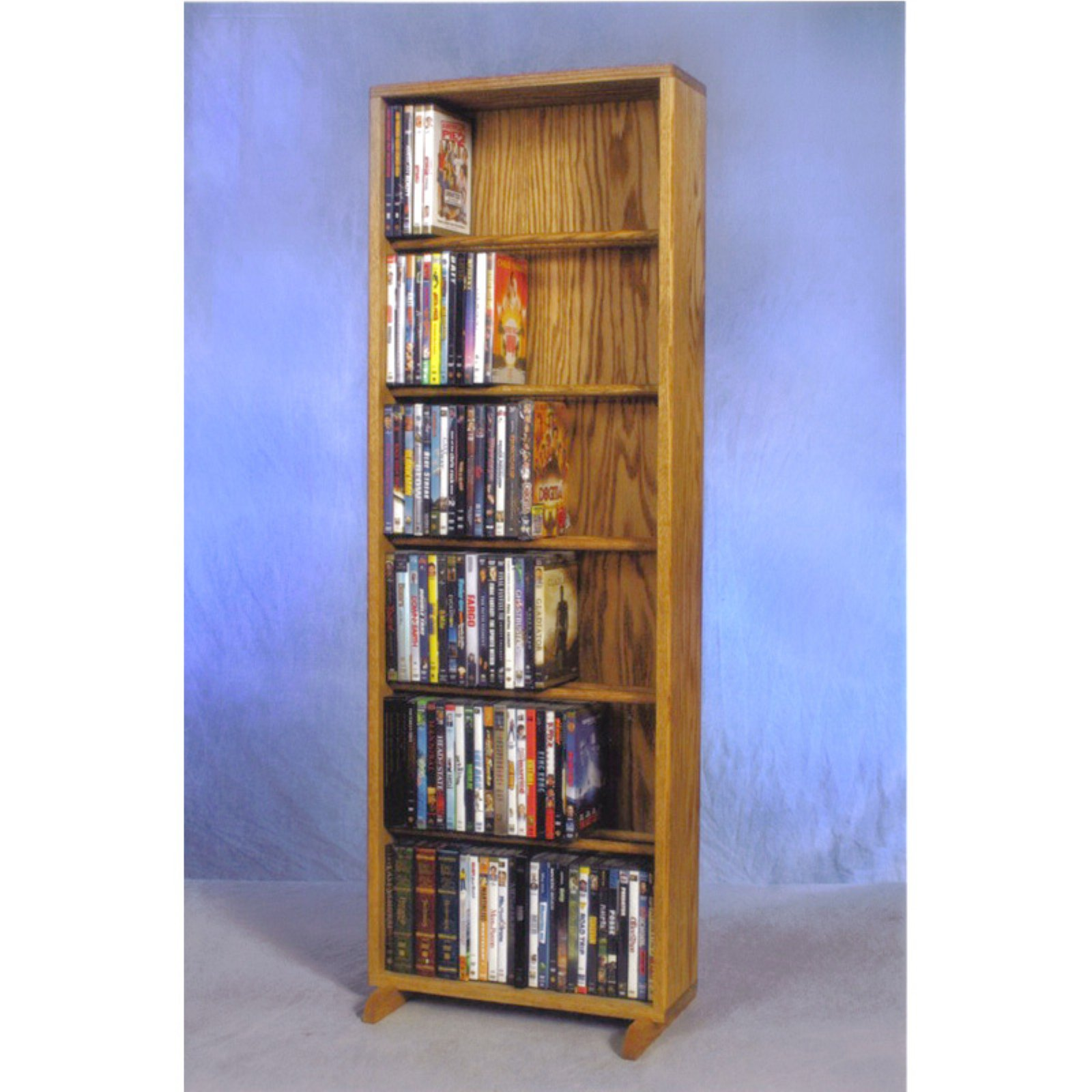 The Wood Shed Solid Oak 6 Row Dowel CD   DVD Combination Media Rack 18 in. Wide by The Wood Shed