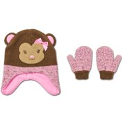Baby Toddler Girl Novelty Critter Hat and Mitten Accessory Set