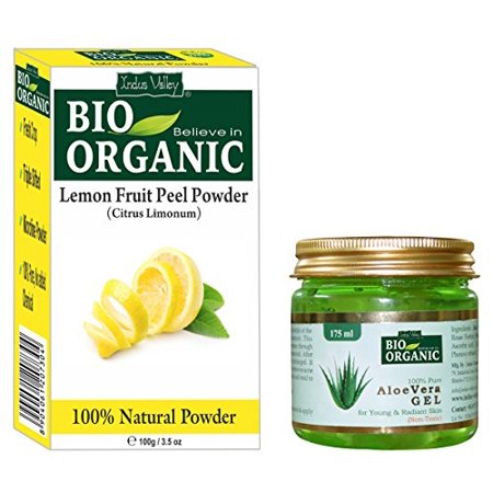 Indus Valley Lemon Fruit Powder 100% Organic, Natural and Pure With 100% Pure Non-Toxic Aloe Vera Gel For Hair and Skin Care (Lemon Powder 100grams and Aloe Vera Gel