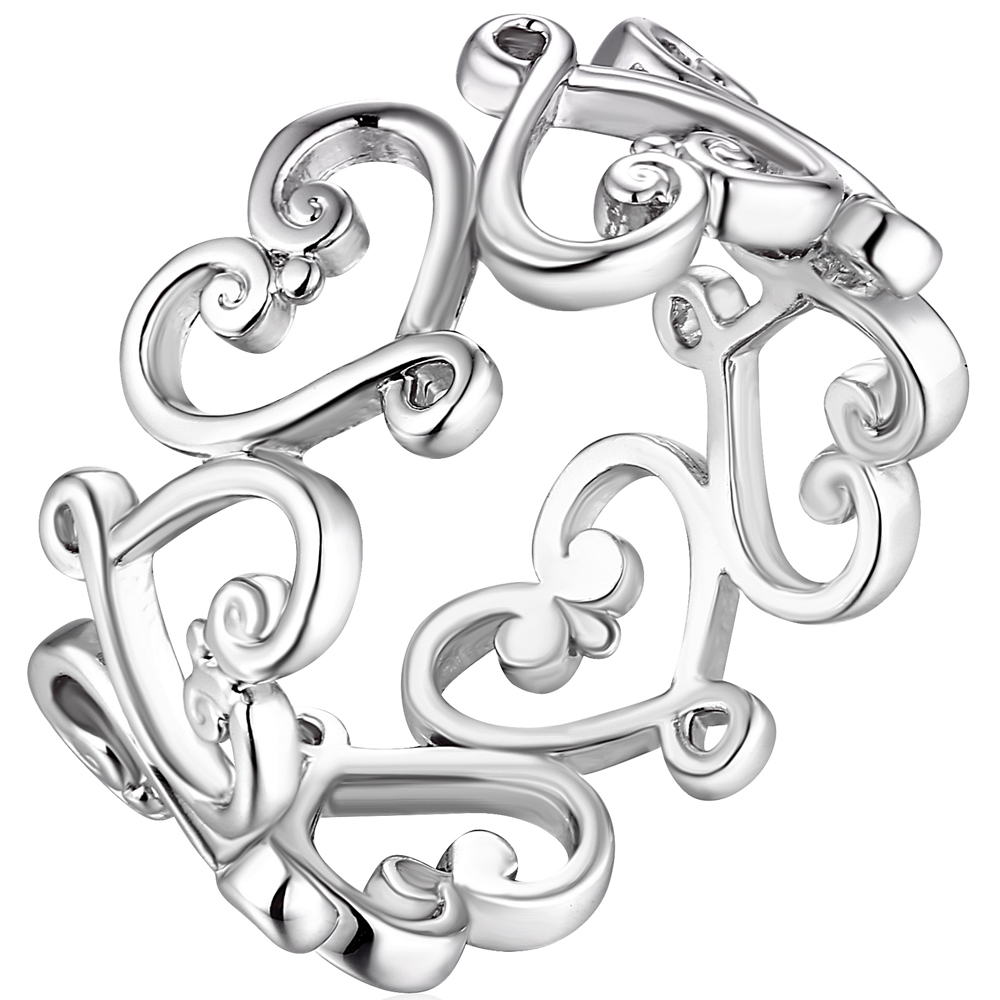 Princess Kylie Rhodium Plated 925 Sterling Silver Halfway Infinity Symbols Ring