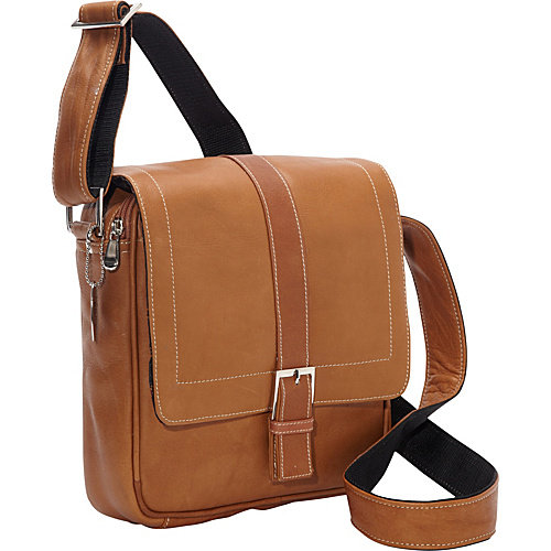 David King & Co 8469C Deluxe Medium Messenger with Buckle - Cafe