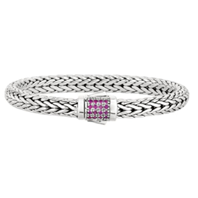 Sterling Sliver Sapphire Flat Wheat Weave Bracelet (0.32.ct.tw) by PGCX702-0825