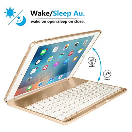 New iPad 2018 Keyboard Case, iEGrow New F8AS 7 Colors LED Backlit iPad 6th Generation Keyboard with Protective Case - image 1 de 5