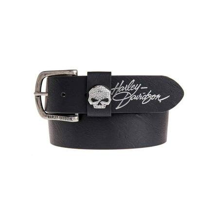 Women's Rock Candy Embellish Willie G Skull Belt HDWBT11023-BLK, Harley Davidson (Skull Belt)