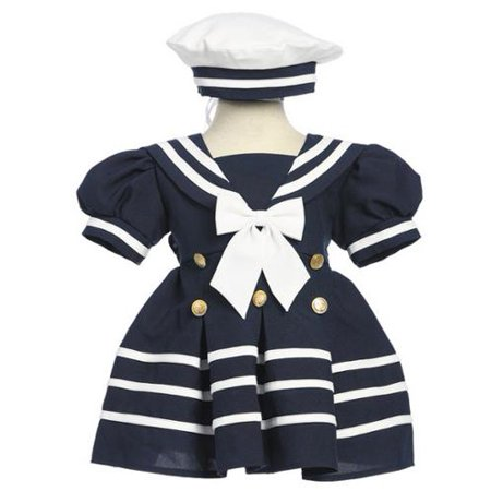 Little Girls Navy White Bow Dress Hat Sailor Outfit 2-4T