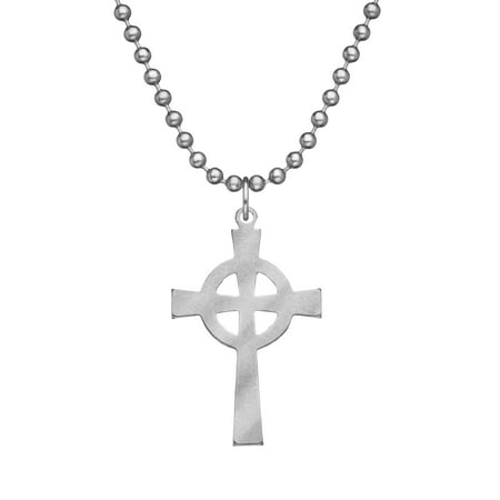Genuine U.S. Military Issue CELTIC CROSS With Beaded Chain - - Military Cross