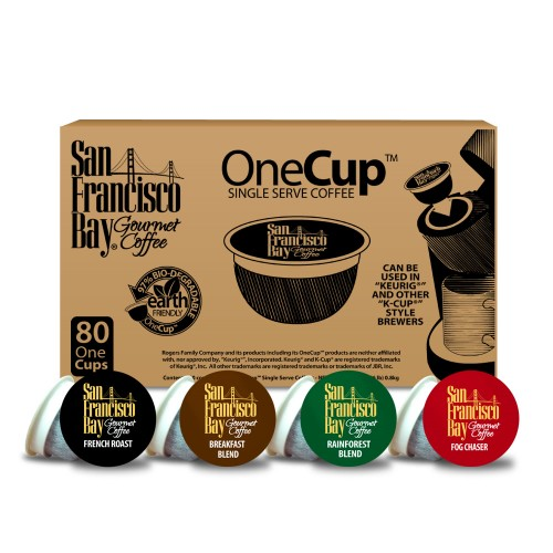 San Francisco Bay Coffee French Roast Single Serve Coffee for Keurig, Original, 80