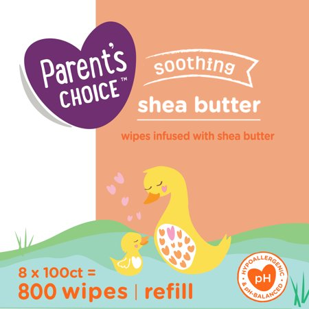Parent's Choice Shea Butter Baby Wipes, 8 Packs of 100 (800 Count)