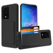 """Samsung Galaxy S20 ULTRA (6.9"""") Wallet Phone Case Protective Cover with 3 Cedit Cards ID Holder Slots Heavy Duty Shockproof Hybrid Rubber Hard PC + TPU Armor BLACK Cover for Samsung Galaxy S20 Ultra"""