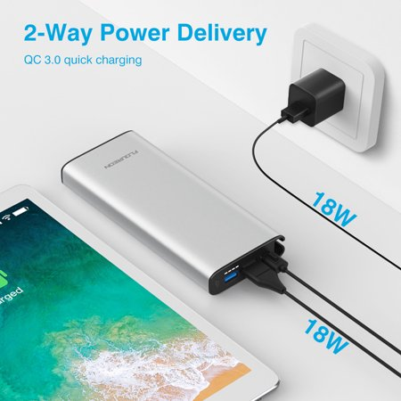 Floureon USB C Portable Charger 20100mAh PD18W  QC3.0 Power Bank With Type-C Input/Output For Nintendo Switch,IPhone XS/XS Max/XR/X/8, Samsung Galaxy S9/Note 9, HUAWEI Mate 20 And (Best Type C Power Bank)