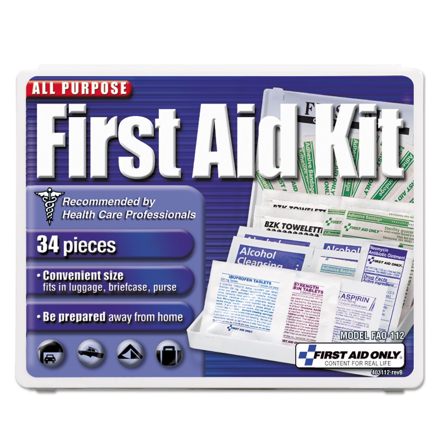 Click here to buy All-Purpose First Aid Kit, 34 Pieces, 3 3 4 x 4 3 4 x 1 2, Blue White by First Aid Only Inc.