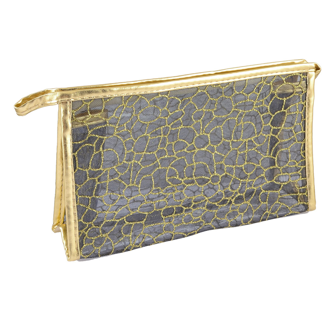 Woman Zippered Gold Tone Glittery Powder Plastic Make up Hand Bag Pouch